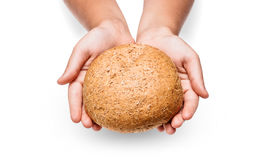 Children hand with bread Royalty Free Stock Photo