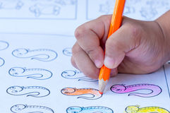 Children hand drawing by pencil Royalty Free Stock Photos