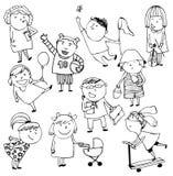 Children. Hand-drawn sketch, ten images of children royalty free illustration