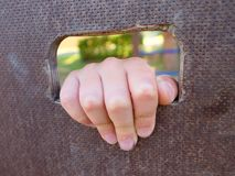 Children hand holds a hole on the wooden climbing wall. Short fingers hold through ladder Stock Photography