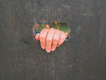 Children hand holds a hole on the wooden climbing wall. Short fingers hold through ladder Stock Photo