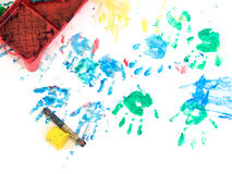 Children hand painting playground Stock Photos