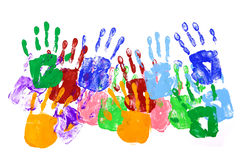Children handprints border multicolor isolated on white background Stock Photography
