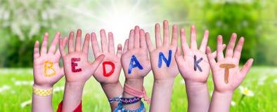 Children Hands Building Word Bedankt Means Thank You, Grass Meadow