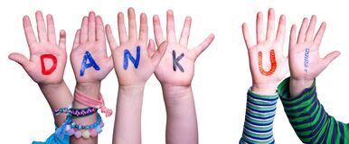 Children Hands Building Word Dank U Means Thank You, Isolated Background