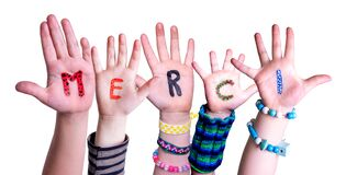 Children Hands Building Word Merci Means Thank You, Isolated Background