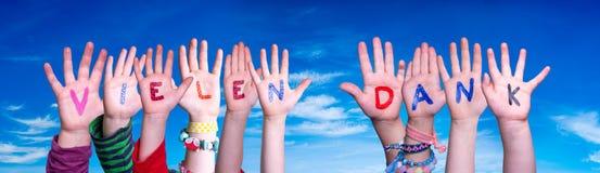 Children Hands Building Word Vielen Dank Means Thank You, Blue Sky