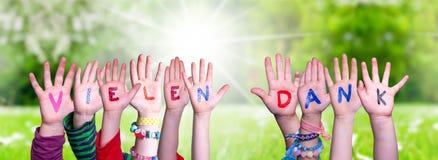 Children Hands Building Word Vielen Dank Means Thank You, Grass Meadow