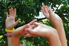 Children hands. Closeup picture of children hands up in the air Royalty Free Stock Photography