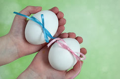 Children hands holding  Easter Eggs Royalty Free Stock Photos