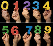 Children hands holding numbers Royalty Free Stock Photos