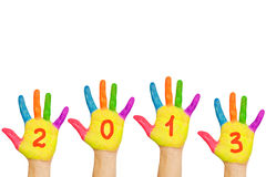 Children hands with numerals 2013 Royalty Free Stock Photography