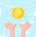 Children hands reach for the sun. Vector sketching doodle religion illustration with simple colors royalty free illustration