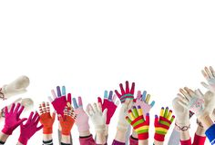 Children hands with winter gloves and mittens isolated. On white background stock photo