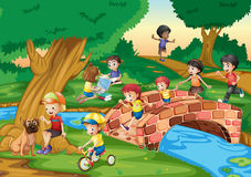 Children hanging out in the park. Illustration Stock Photo