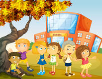 Children hanging out at the school campus Stock Image