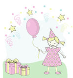 Children Happy Birthday. A little girl in rosa dress with a rosa balloon Stock Image