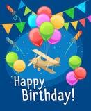 Children happy birthday card with balloons stock illustration
