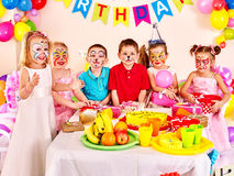 Children happy birthday party eating Royalty Free Stock Photography