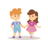 Children happy couple cartoon relationship characters lifestyle vector illustration girl and boy friends. Royalty Free Stock Photo