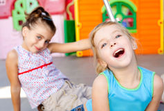 Children happy little sister girls playing Stock Photos