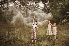 Children happy outdoors. Stock Photo