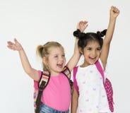 Children Happy Shouting Hands Up Portrait Concept Stock Photo