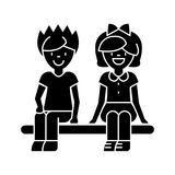 Children happy sitting on bench, boy and girl  icon, vector illustration, sign on isolated background Stock Images