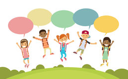 Children Happy Smile Group Jump Colorful Chat Box Park Stock Photos