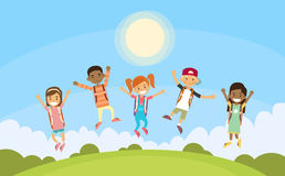 Children Happy Smile Group Jump Park Outdoor Royalty Free Stock Photo
