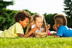 Children have breakfast. Royalty Free Stock Images