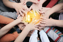 Children have combined hands together to house Royalty Free Stock Images