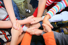Children have crossed hands royalty free stock image