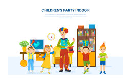 Children have fun with a clown animator home in room. Stock Photos