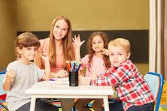 Children have fun in the creative painting class stock photography