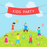 Children Have Fun Party. Leisure and Entertainment. Amusement Park. Active Kids Jumping. Illustration Vector Royalty Free Stock Photos
