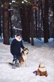 Children have fun playing with their dog in the park in winter. Concept of happy winter holidays stock photo