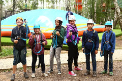 Children  have instructions before pass difficult climbing route Moscow Russia Stock Photography
