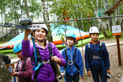 Children  have instructions before pass difficult climbing route Moscow Russia Royalty Free Stock Image