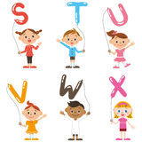 Children having the balloon of the, alphabet Stock Photos