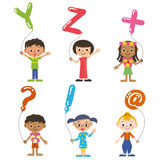 Children having the balloon of the, alphabet Stock Images