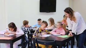 Children  having class of art stock footage