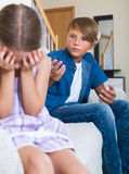 Children having conflict at home Stock Photography