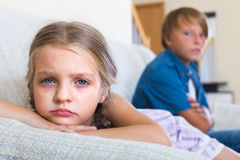 Children having conflict at home Royalty Free Stock Photography