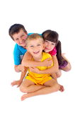 Children having fun. Portrait of three pretty children having fun royalty free stock photos