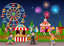 Children having fun at amusement park. Illustration of Children having fun at amusement park Stock Image