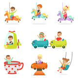 Children having fun in an amusement park, set for label design. Cartoon detailed colorful Illustrations. Children having fun in an amusement park, set for label Stock Photography