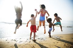 Children having fun on the beach Royalty Free Stock Images