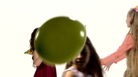 Children having fun after birthday. Play balloons stock video