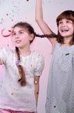 Children having fun and dancing. Studio portrait of two joyful children having fun and dancing Royalty Free Stock Photos